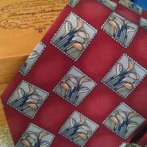 Tommy Bahama Golf Tie New With Tag And Wooden Box